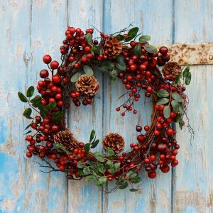 ideas-appealing-christmas-wreath-idea-with-twigs-wreath-and-red-berries-and-brown-pine-cones-decorations-and-placed-on-old-blue-door-idea-50-exquisite-christmas-wreath-ideas-for-your-front-door